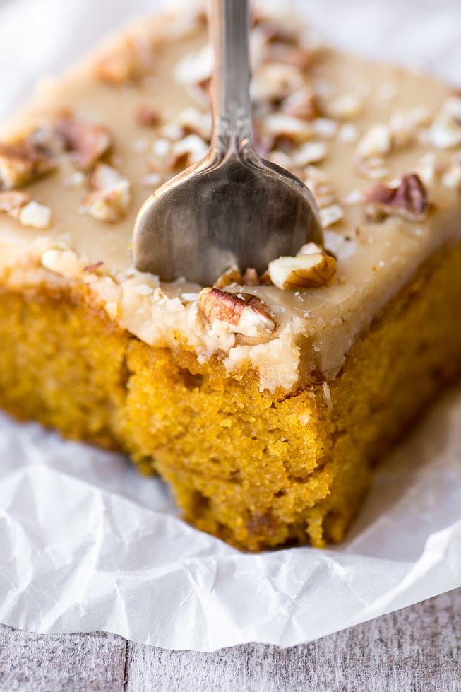 Praline Pumpkin Snack Cake Recipe | HeyFood — heyfoodapp.com