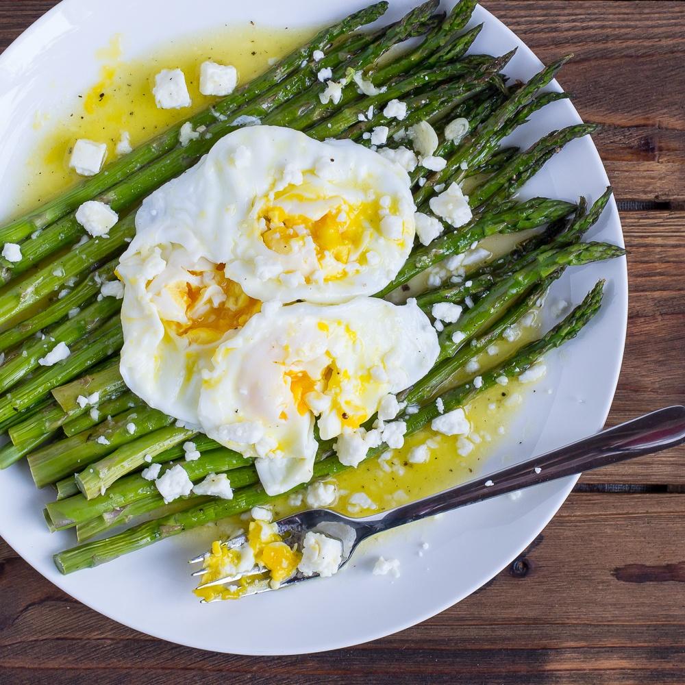 Roasted Asparagus & Poached Eggs With Lemon Feta Vinaigrette Recipe | HeyFood — heyfoodapp.com