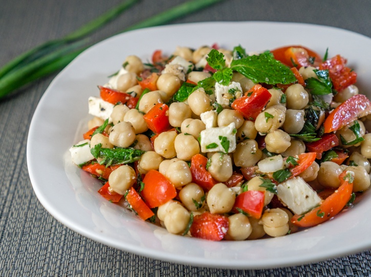Summer Chickpea Salad with Feta and Vegetables Recipe | HeyFood — heyfoodapp.com