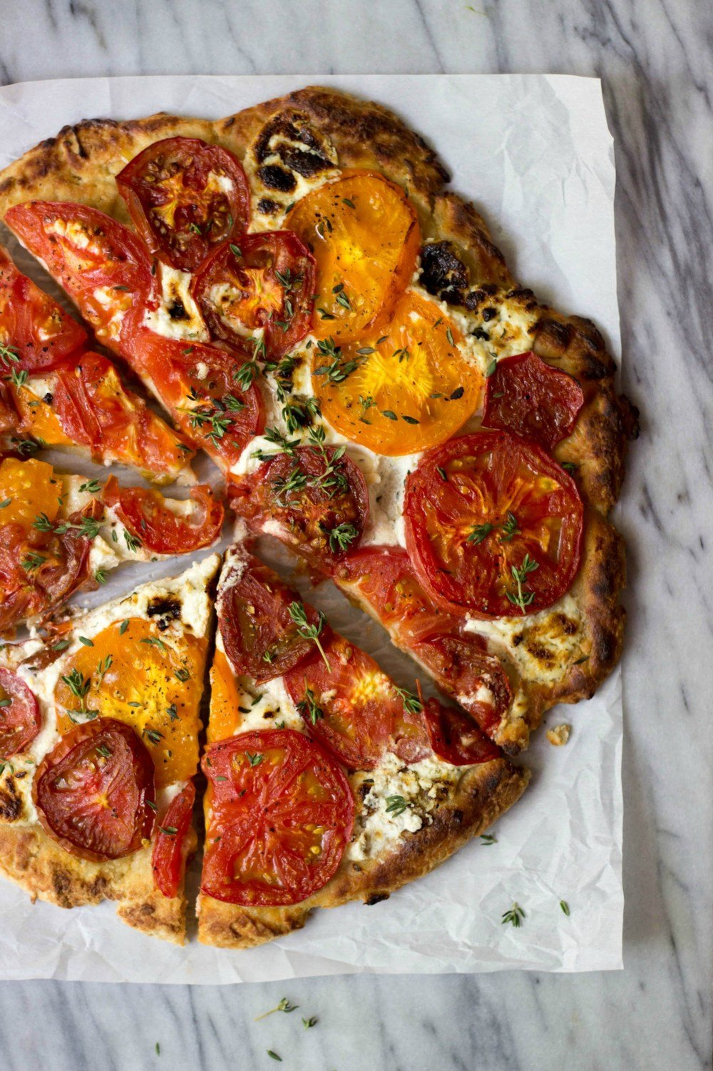 Rustic Heirloom Tomato Pizza Recipe | HeyFood — heyfoodapp.com