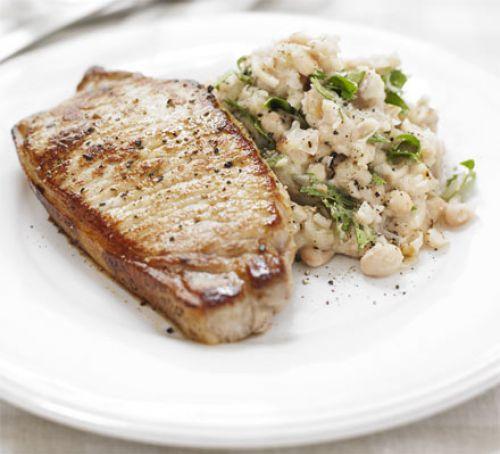 Pork With Garlicky Bean Mash Recipe | HeyFood — heyfoodapp.com