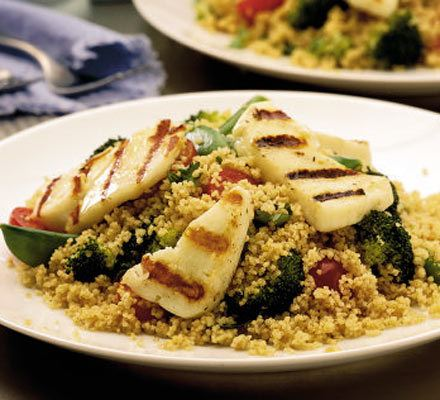 Grilled halloumi with spiced couscous Recipe | HeyFood — heyfoodapp.com