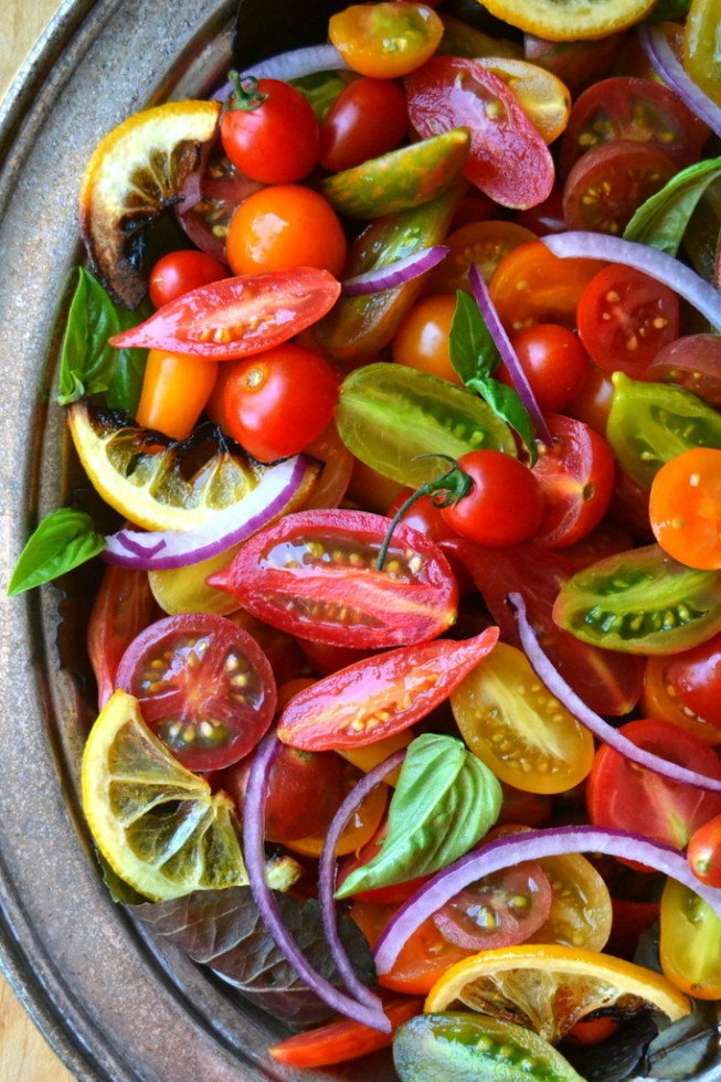 Tomato, Onion, and Roasted Lemon Salad Recipe | HeyFood — heyfoodapp.com