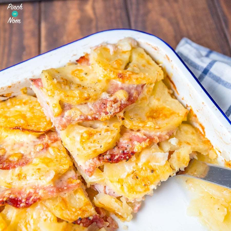 Bacon, Onion and Potato Bake | Slimming World & Weight Watchers Friendly Recipe | HeyFood — heyfoodapp.com