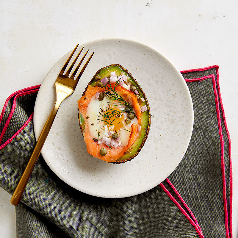 Egg Baked In Avocado With Smoked Salmon, Capers And Dill Recipe | HeyFood — heyfoodapp.com