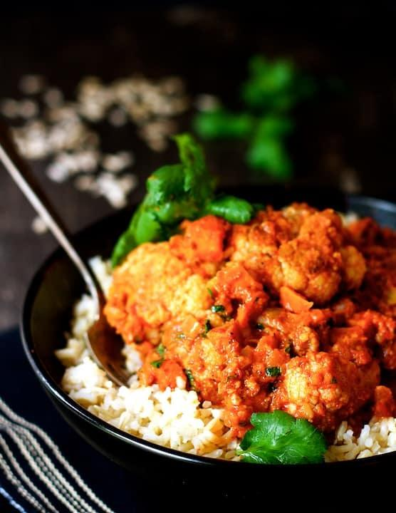 Cauliflower and Sweet Potatoes in Roasted Red Pepper Mole Recipe | HeyFood — heyfoodapp.com