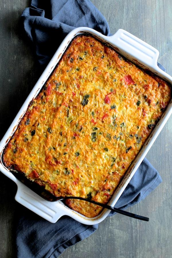 Spaghetti Squash Poblano and Chorizo Breakfast Casserole Recipe | HeyFood — heyfoodapp.com