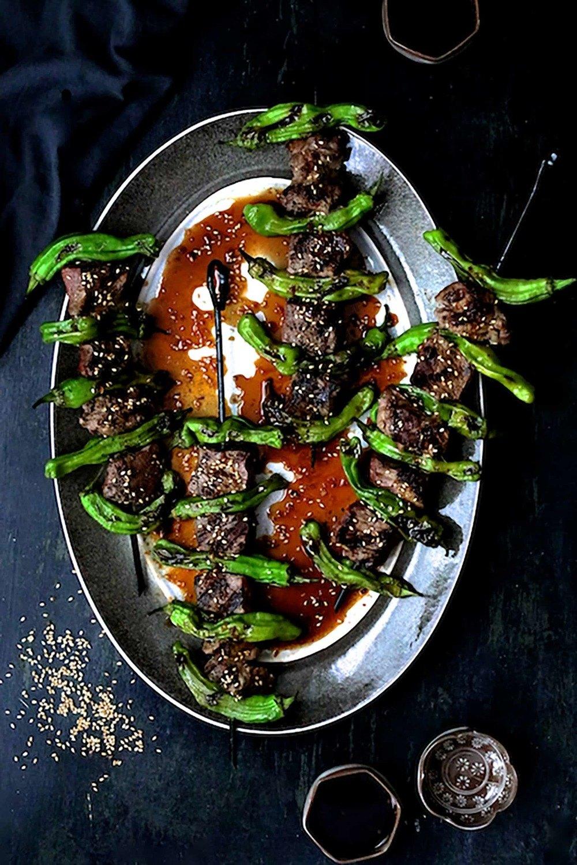 Grilled Japanese Beef and Shishito Pepper Skewers Recipe   HeyFood — heyfoodapp.com