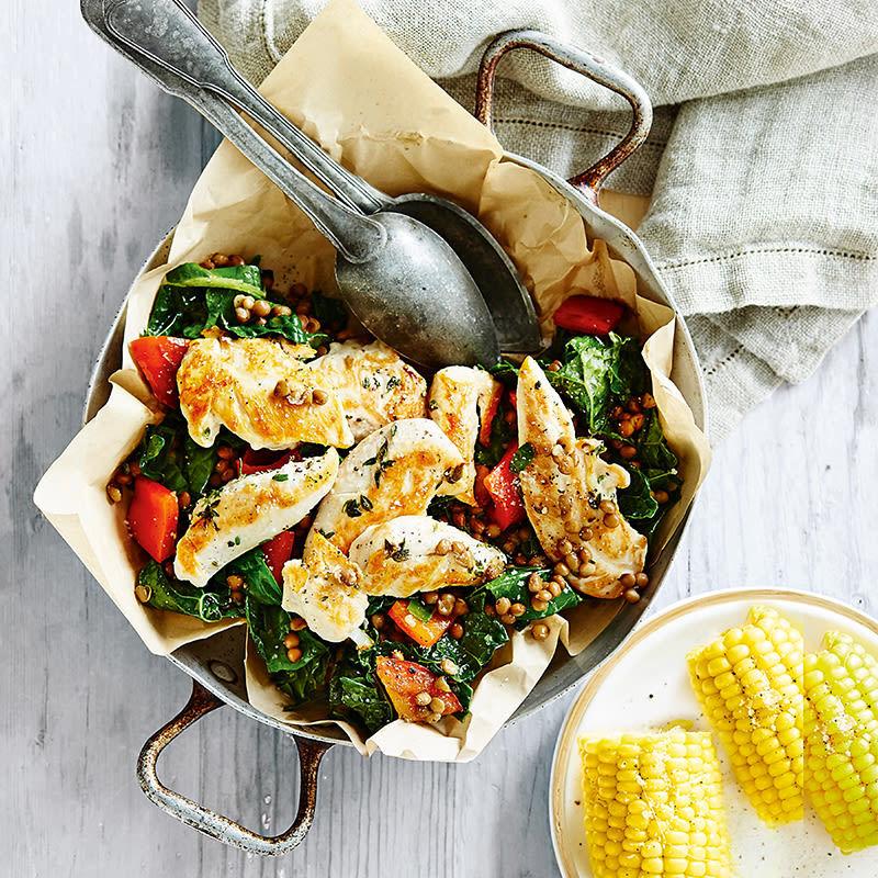Chicken, Lentil & Kale Braise Recipe | HeyFood — heyfoodapp.com