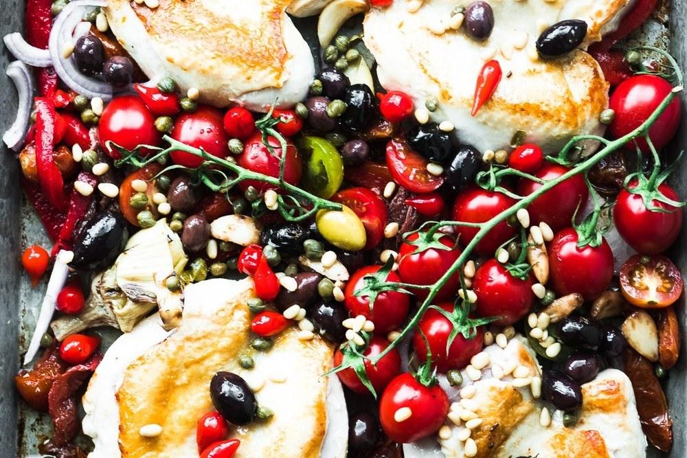 Sheet Pan Chicken Puttanesca Recipe | HeyFood — heyfoodapp.com