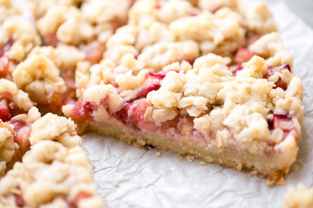 Rhubarb Shortbread Crumble Tart Recipe | HeyFood — heyfoodapp.com