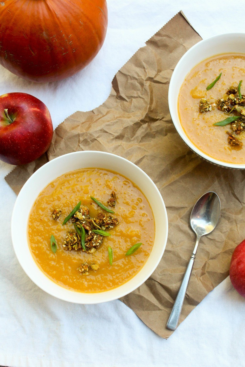 Butternut Apple Soup with Nutty Spiced Croutons Recipe | HeyFood — heyfoodapp.com