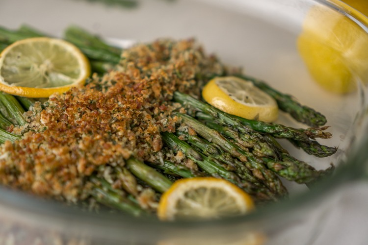 Asparagus with Crispy Topping Recipe | HeyFood — heyfoodapp.com