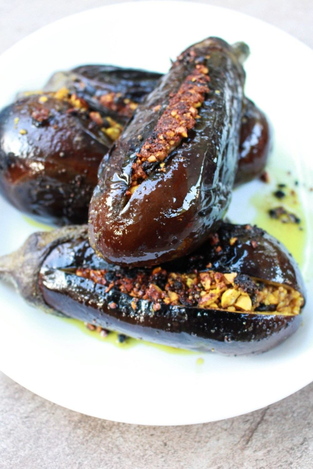 Indian Stuffed Eggplant Recipe | HeyFood — heyfoodapp.com