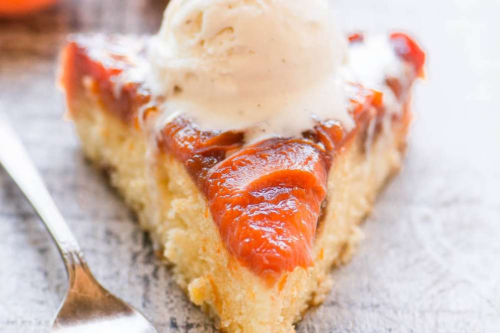 Caramelized Apricot Upside Down Cake Recipe | HeyFood — heyfoodapp.com