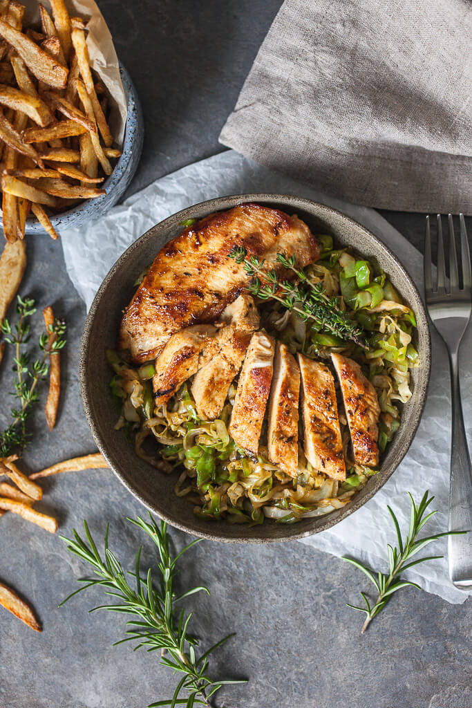 Rosemary Grilled Chicken on Cabbage Recipe | HeyFood — heyfoodapp.com