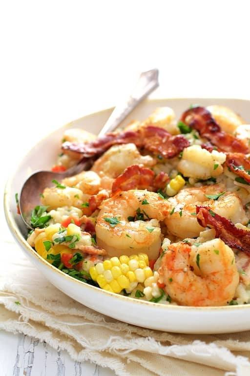 Shrimp and Corn Risotto with Bacon Recipe | HeyFood — heyfoodapp.com