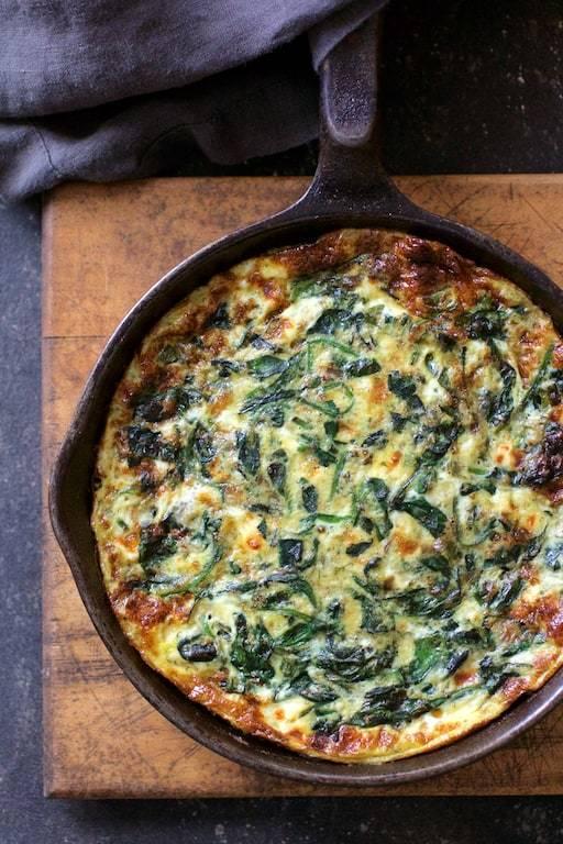 Spinach Leek and Feta Cheese Frittata Recipe   HeyFood — heyfoodapp.com