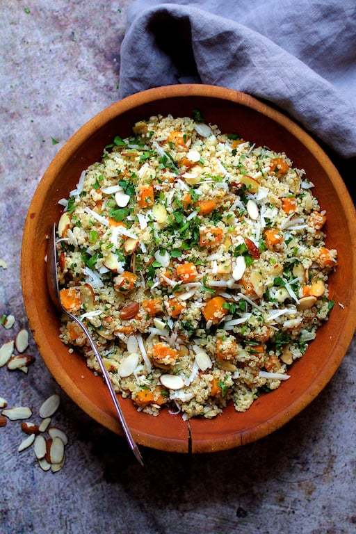 Lemony Quinoa with Butternut Squash Almonds and Parmesan Cheese Recipe | HeyFood — heyfoodapp.com