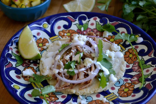 Slow Cooked Sangria Carnitas with Sopes Recipe | HeyFood — heyfoodapp.com