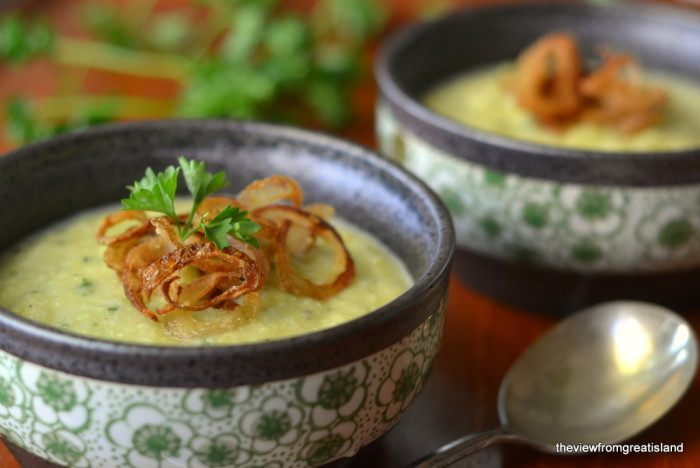 Green Cauliflower Soup with Fried Shallots Recipe | HeyFood — heyfoodapp.com