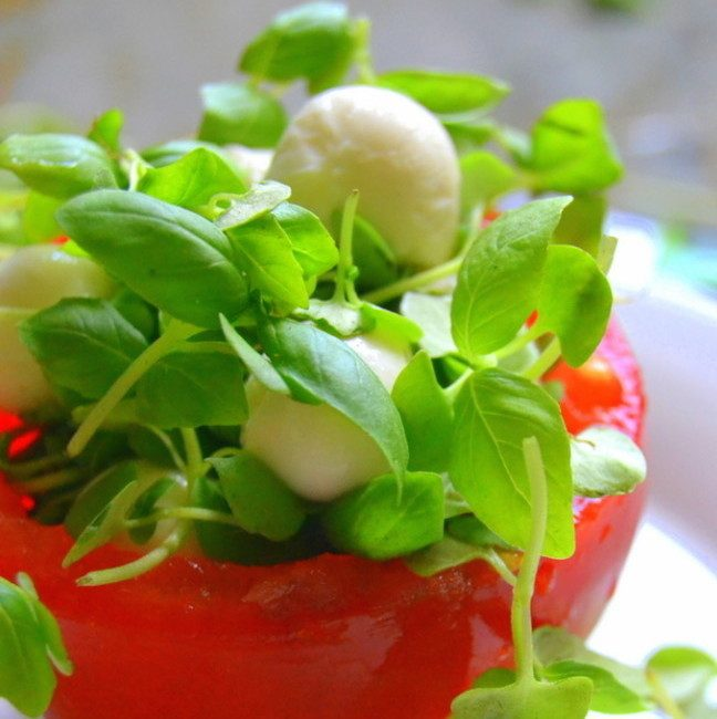 Micro Caprese Salad Recipe | HeyFood — heyfoodapp.com