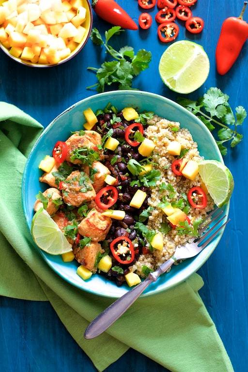 Cuban Chicken and Black Bean Quinoa Bowls Recipe | HeyFood — heyfoodapp.com