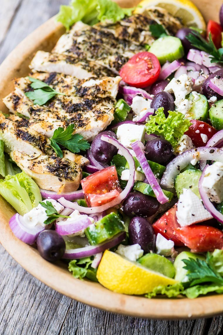 Grilled Greek Chicken Salad Recipe | HeyFood — heyfoodapp.com