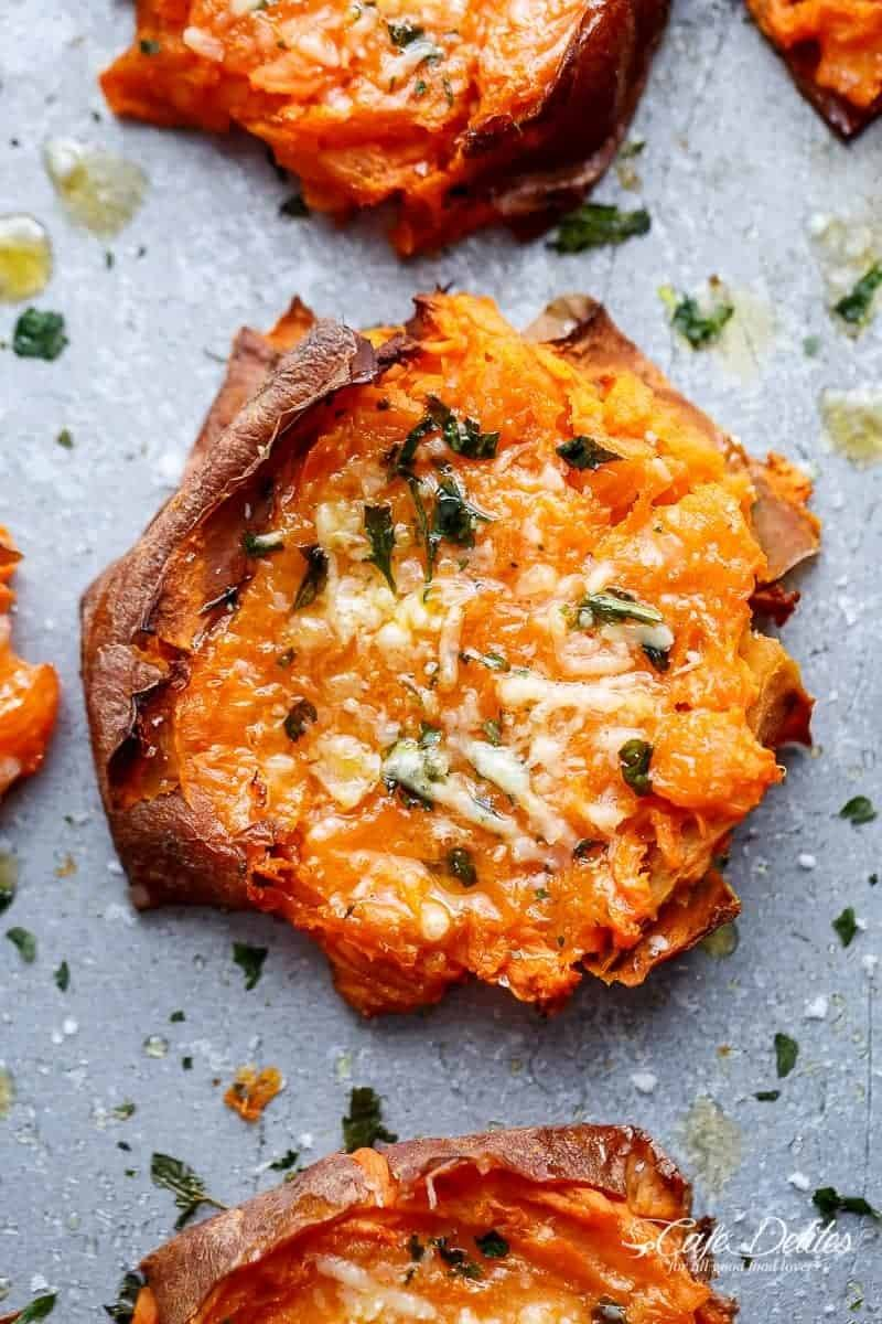Garlic Butter Smashed Sweet Potatoes With Parmesan Cheese Recipe | HeyFood — heyfoodapp.com