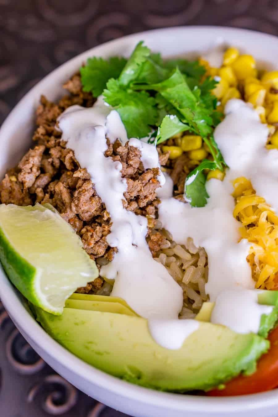 Taco Brown Rice Bowls Recipe | HeyFood — heyfoodapp.com