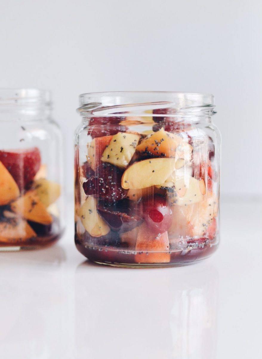 Colorful fruit salad with honey and poppy seeds Recipe   HeyFood — heyfoodapp.com