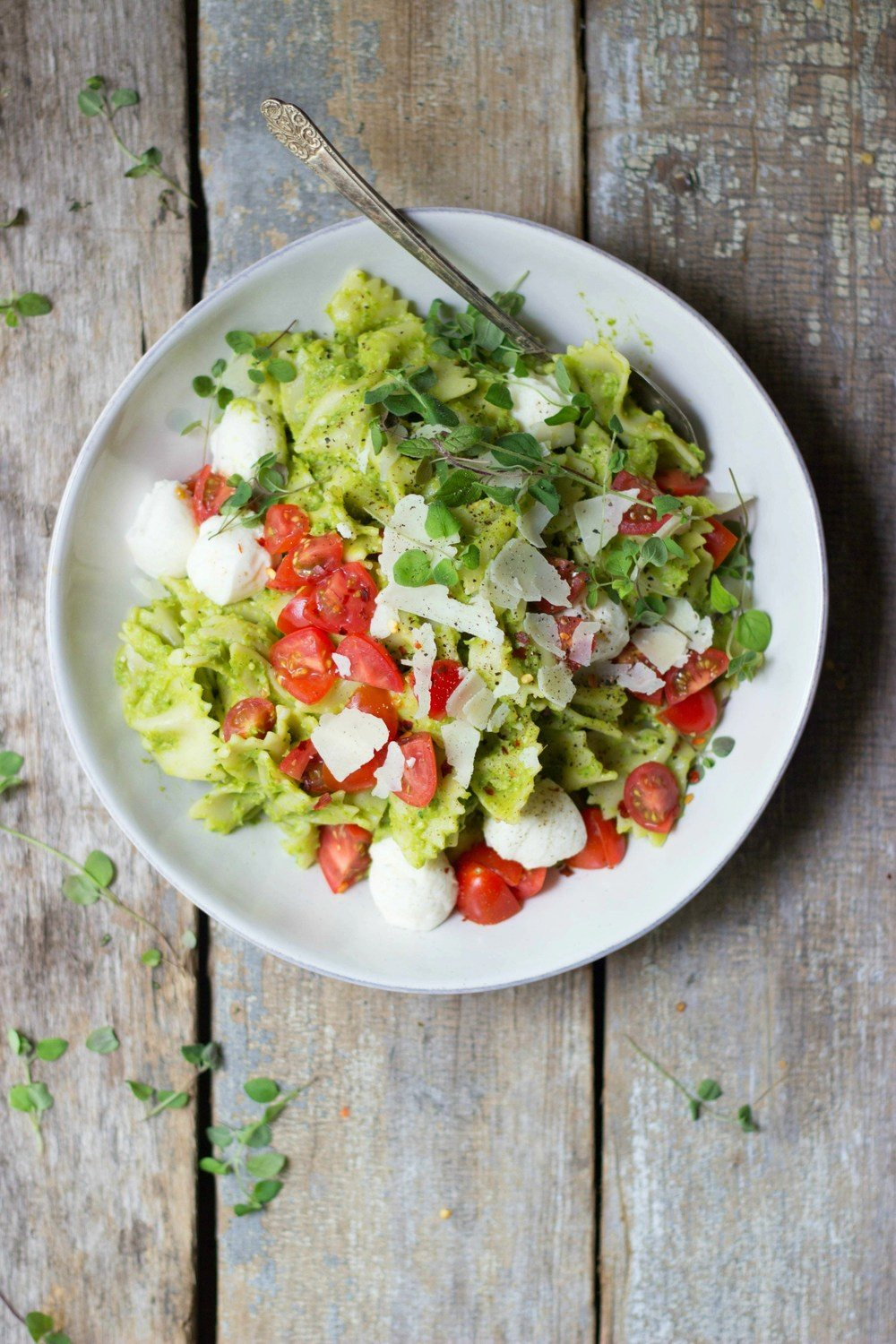 Caprese Pasta Salad with Asparagus Pesto Recipe | HeyFood — heyfoodapp.com