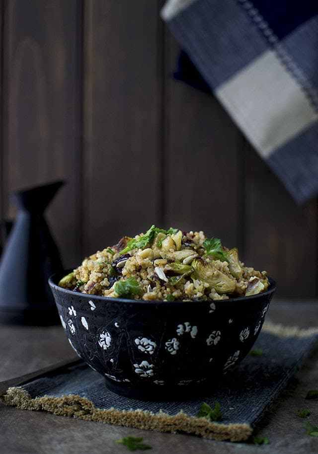 Warm Millet Salad with Brussels Sprouts Recipe | HeyFood — heyfoodapp.com
