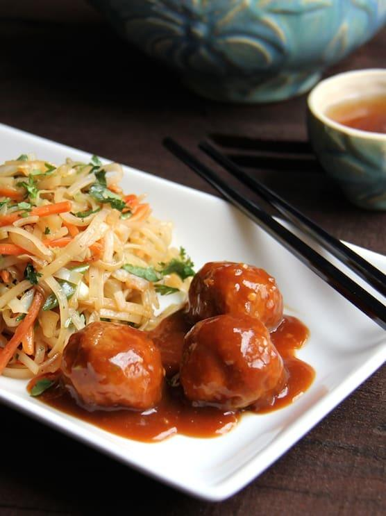 Hoisin Glazed Pork Meatballs and Rice Noodles with Cabbage and Carrots Recipe | HeyFood — heyfoodapp.com