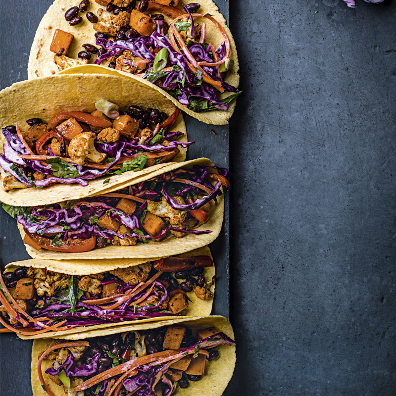 Roasted Vegetable Tacos With Slaw Recipe | HeyFood — heyfoodapp.com