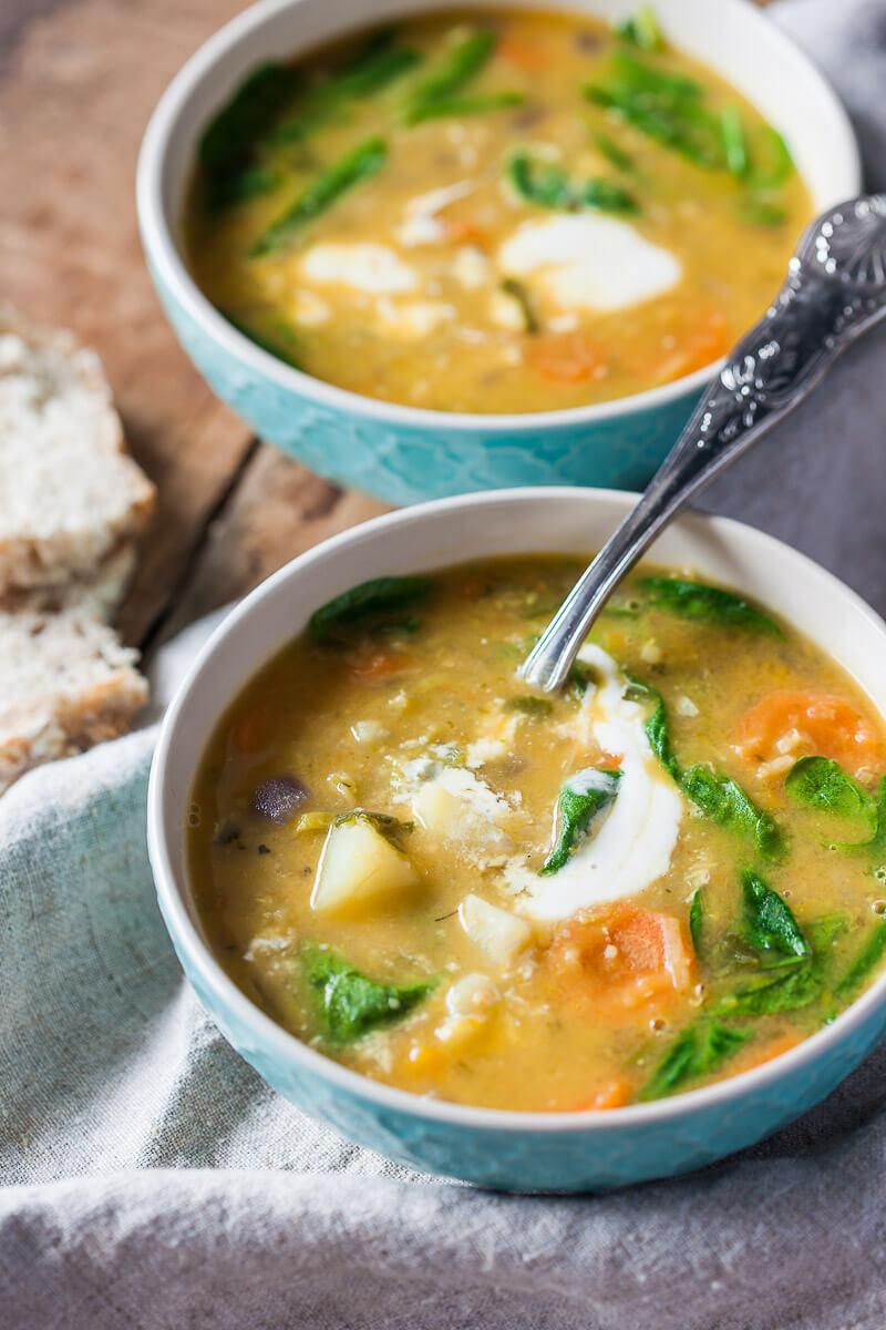 Vegan Pumpkin Spinach Creamy Lentil Soup Recipe | HeyFood — heyfoodapp.com