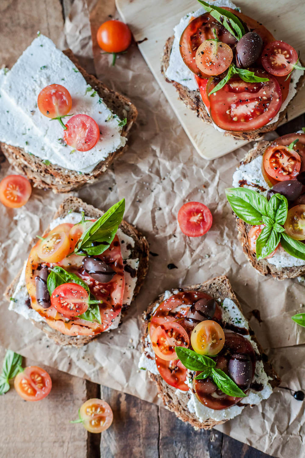 Tomato Wholewheat Sandwiches with Goat's Milk Ricotta Recipe | HeyFood — heyfoodapp.com