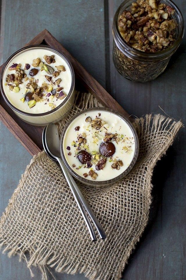 Custard with Gulab Jamun and Praline topping Recipe | HeyFood — heyfoodapp.com
