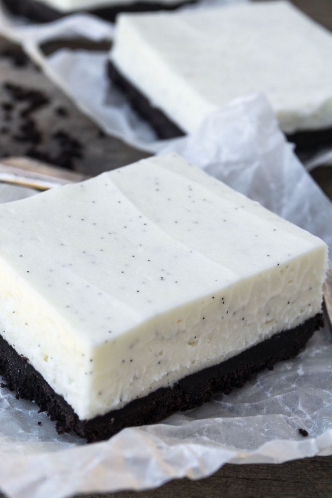 No Bake Vanilla Bean Cheesecake Bars Recipe | HeyFood — heyfoodapp.com