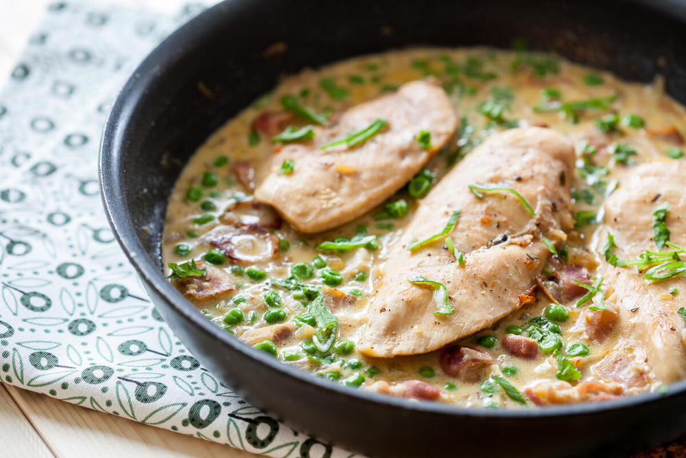 Chicken with Peas and Bacon in Creamy Sauce Recipe | HeyFood — heyfoodapp.com