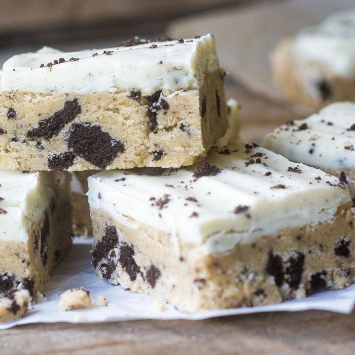 No Bake Cookies and Cream Cookie Dough Bars Recipe | HeyFood — heyfoodapp.com
