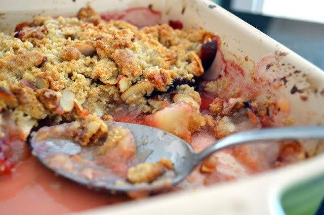 Pear, Plum, and Cardamom Crisp Recipe   HeyFood — heyfoodapp.com