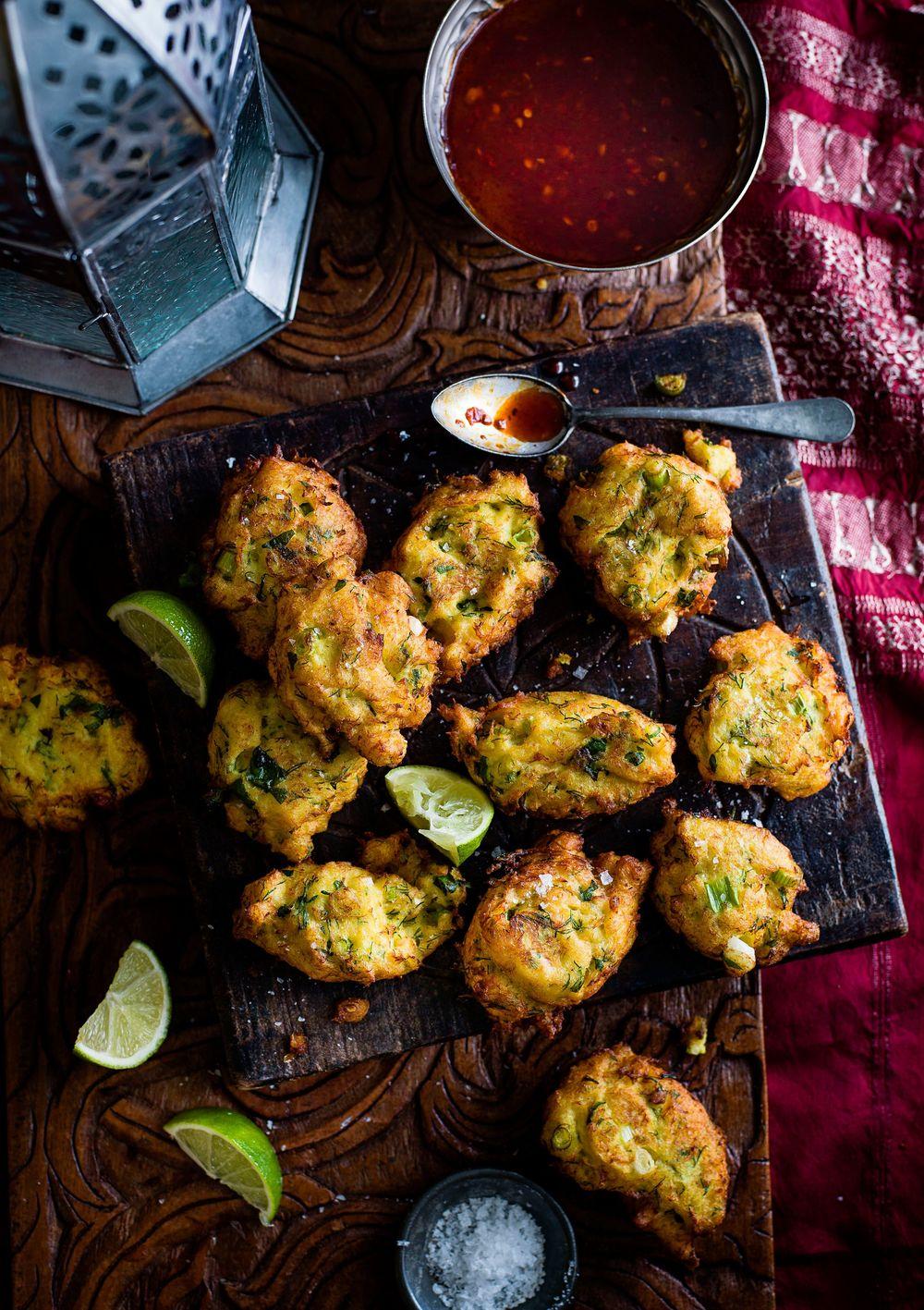 Spiced Cod Fritters With Harissa Honey Dip Recipe | HeyFood — heyfoodapp.com