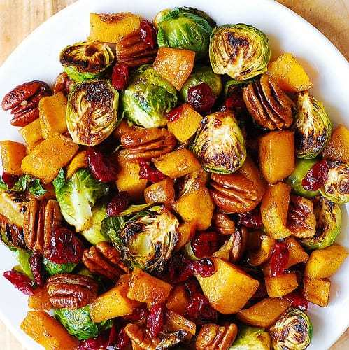 Butternut Squash Salad With Roasted Brussels Sprouts, Pecans, And Cranberries Recipe | HeyFood — heyfoodapp.com