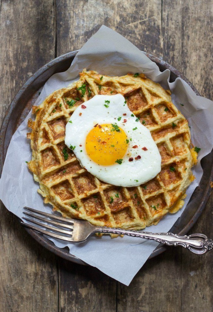 Savory Cauliflower Waffles and Fried Eggs Recipe | HeyFood — heyfoodapp.com