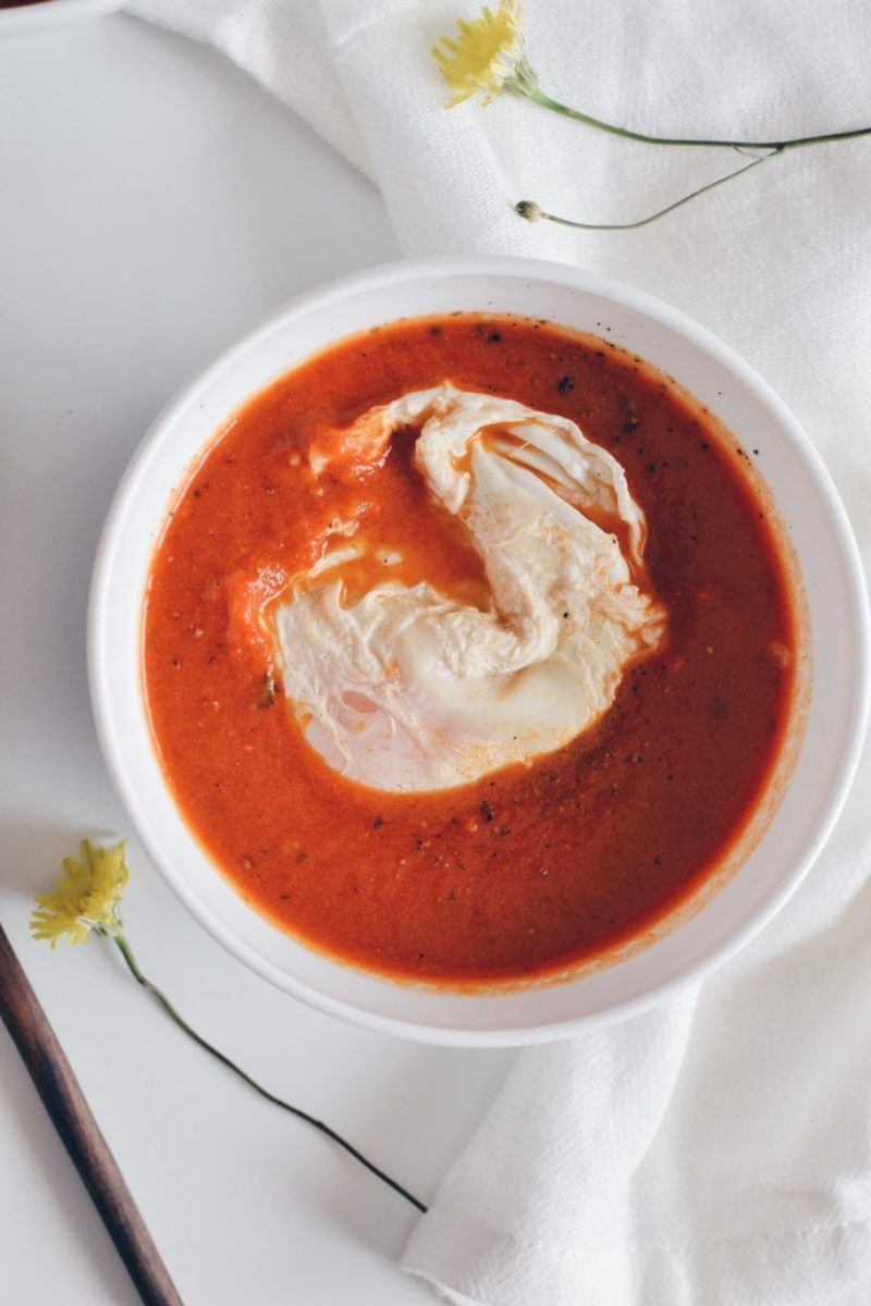 Tomato soup with poached egg Recipe | HeyFood — heyfoodapp.com
