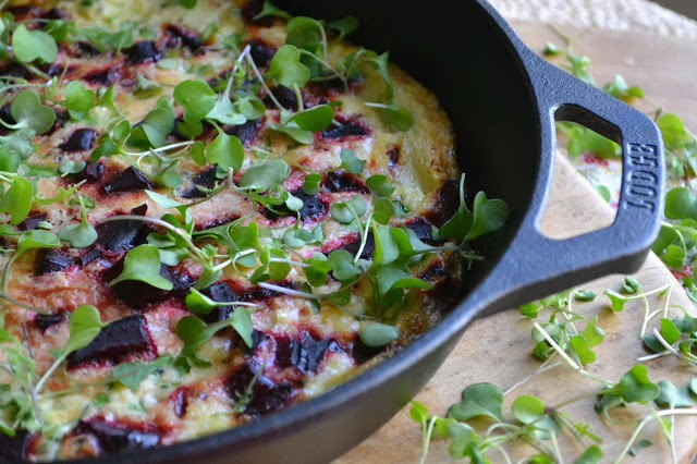 Roasted Beet and Micro Kale Egg White Frittata Recipe | HeyFood — heyfoodapp.com