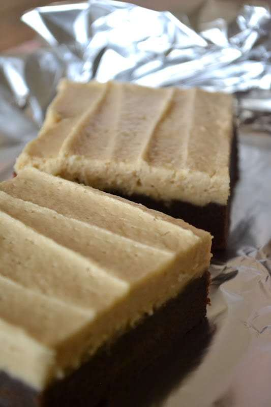 Peanut Butter Brownie Cake Squares Recipe | HeyFood — heyfoodapp.com