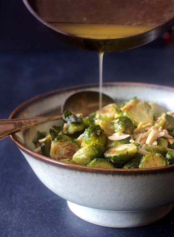 Roasted Brussels Sprouts with Browned Butter and Almonds Recipe | HeyFood — heyfoodapp.com