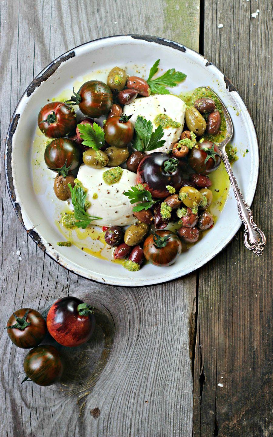 Caprese Olive Salad + Green Olive Pesto Recipe | HeyFood — heyfoodapp.com